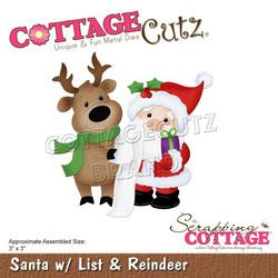 CottageCutz stanssi Santa with List & Reindeer