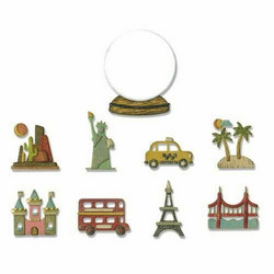 Sizzix Tim Holtz Thinlits stanssisetti Tiny Travel Globe