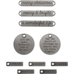 Tim Holtz Idea-Ology Adornments Antique Nickel Christmas Words, metallikoristeet