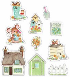 Craft Consortium Cottage Garden Wooden Shapes -koristeet