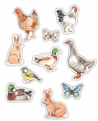 Craft Consortium Farm Meadow Wooden Shapes -koristeet Animals
