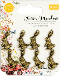 Craft Consortium Farm Meadow Metal Charms -koristeet Rabbit