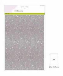 CraftEmotions glitterpaperi, valkoinen, 5 arkkia
