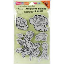 Stampendous leimasinsetti  Rose Garden + sapluuna