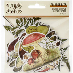 Simple Stories Vintage Great Escape Foliage Bits Die-Cuts, leikekuvat