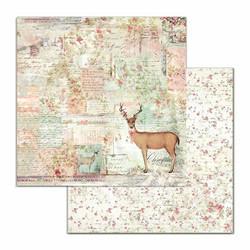 Stamperia Pink Christmas skräppipaperi Deer