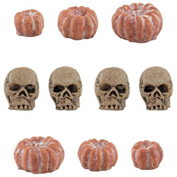 Tim Holtz Idea-Ology Mini Skulls & Pumpkins -koristeet, 10 kpl