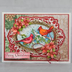 Heartfelt Creations Snowy Pine Cardinals -leimasin