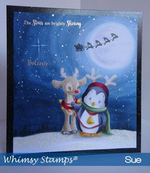 Whimsy Stamps Penguin and Reindeer Friend -leimasin