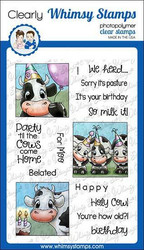 Whimsy Stamps Cow Party -leimasinsetti