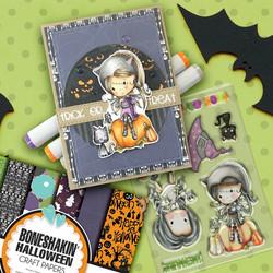 Polkadoodles Boneshakin Halloween  -leimasinsetti