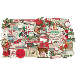 Tim Holtz Idea-Ology Ephemera Christmas -korttikuvat, 57 kpl