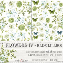 Craft O'clock paperipakkaus Flowers IV, Blue Lilies, Extras To Cut