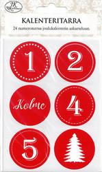 Joulukalenteritarra punavalko