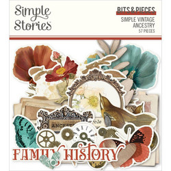 Simple Stories Simple Vintage Ancestry Bits & Pieces Die-Cuts, leikekuvat