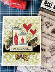 Wendy Vecchi Make Art setti Warm Wishes, sis. leimasin, stanssi ja sapluuna