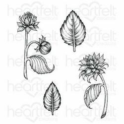 Heartfelt Creations Dahlia and Leaves -leimasin