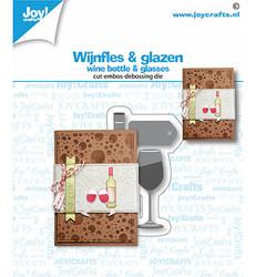 Joy! crafts Wine Bottle &  Glasses -stanssisetti