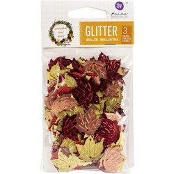 Prima Pretty Pumpkin & Spice Glitter Sequins, Leaves -koristeet