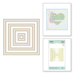 Spellbinders Glimmer Hot Foil -kuviolevy Essential Duo Lines Glimmer Squares