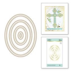 Spellbinders Glimmer Hot Foil -kuviolevy Essential Duo Lines Glimmer Ovals