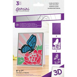 Gemini 3D kohokuviointikansio ja sapluuna Floral Butterfly