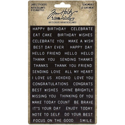 Tim Holtz Idea-ology Label -tarrat Sentiments