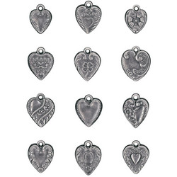 Tim Holtz Idea-Ology Metal Adornments -koristeet, Hearts