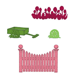 Heartfelt Creations Tulip Cart & Fence -stanssi