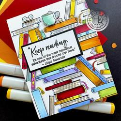 Hero Arts leimasin Book Stacks Bold Prints