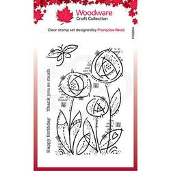 Woodware leimasin Flower Blooms