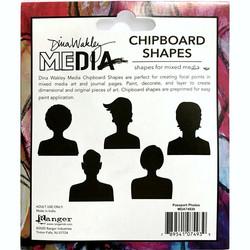 Dina Wakley Chipboard Shapes kuvioleikkeet Passport Photos