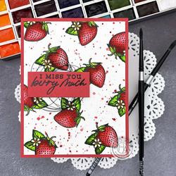 Hero Arts Hero Florals Strawberries Line Art -leimasinsetti