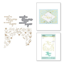Spellbinders Glimmer Hot Foil -kuviolevy Blooming Floral Background + stanssisetti