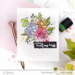 Altenew Inky Bouquet Simple Coloring -sapluuna