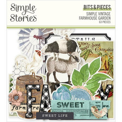 Simple Stories Simple Vintage Farmhouse Garden Bits & Pieces Die-Cuts, leikekuvat