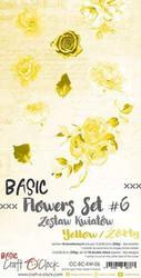 Craft O'clock paperipakkaus Basic Flowers Set 6, Yellow