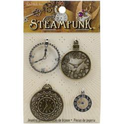 Steampunk Metal Accents -metallikoristeet, Clock Charms