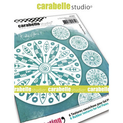 Carabelle Studio Textures Coasters -tekstuurilevyt, Mandala Medley, 6 kpl