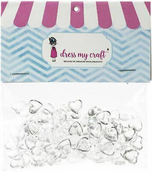 Dress My Craft koristeet Clear Water Droplets, Hearts, 8 mm