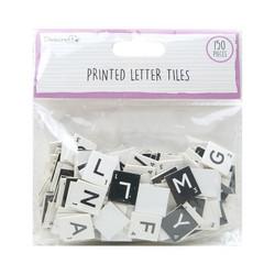 Dovecraft Printed Letter Tiles -koristeet, Black and White