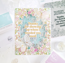Pinkfresh Studio leimasin Happy Blooms Frame