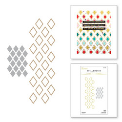 Spellbinders Glimmer Hot Foil -kuviolevy Diamonds + stanssi