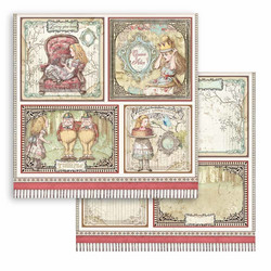 Stamperia Alice skräppipaperi 4 Cards