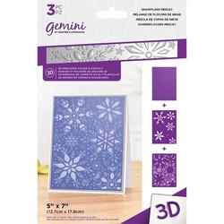 Gemini 3D kohokuviointikansio ja sapluuna Snowflake Medley