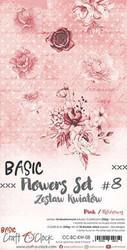 Craft O'clock paperipakkaus Basic Flowers Set 8, Pink