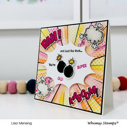 Whimsy Stamps Comic Burst -stanssisetti