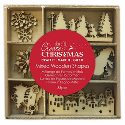 Docrafts Christmas Mixed Wooden Shapes Snowy Town -puukoristeet