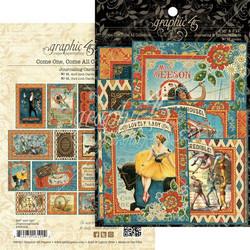 Graphic45 Come One, Come All! Journaling & Ephemera Cards -leikekuvat