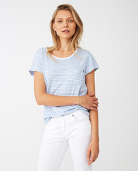 Ashley Jersey Tee, Blue/White Stripe, Lexington